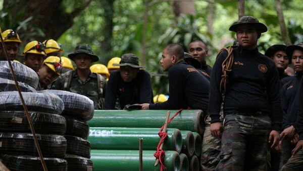 Военные у пещеры Тхам Луанг в провинции Чиангмай, Таиланд. 6 июля 2018 года