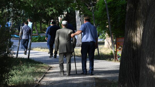 Пожилой человек на прогулке. Архивное фото