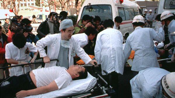 Пассажиры токийского метро, пострадавшие от зарина. 20 марта 1995