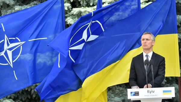 Генеральный секретарь НАТО Йенс Столтенберг выступает на пресс-конференции с президентом Украины в Киеве