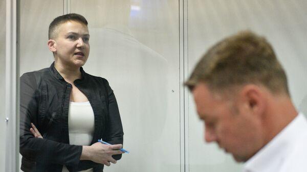 Надежда Савченко на заседании суда в Киеве