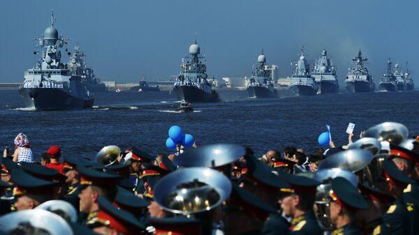 Корабли ВМФ России на главном военно-морском параде в Кронштадте. 29 июля 2018
