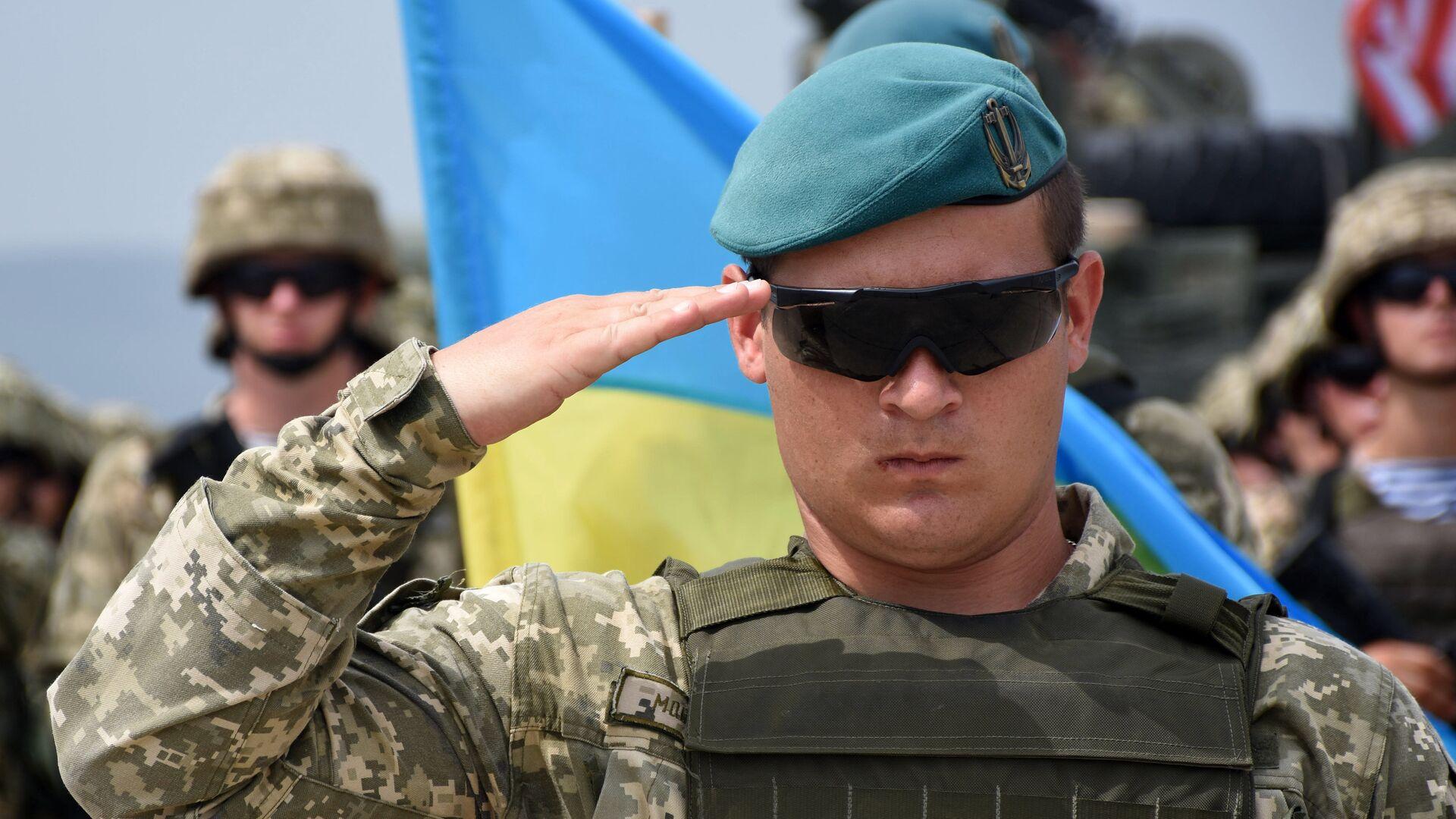 Военнослужащий армии Украины на открытии международных военных учений под эгидой НАТО в Грузии - РИА Новости, 1920, 11.06.2021