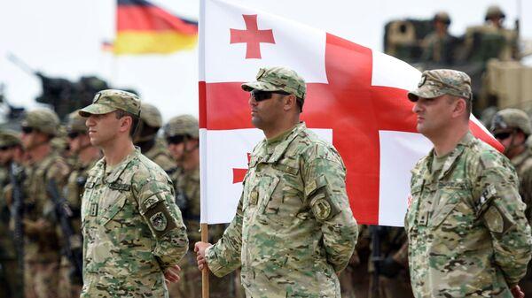 Военнослужащие армии Грузии на открытии международных военных учений под эгидой НАТО в Грузии