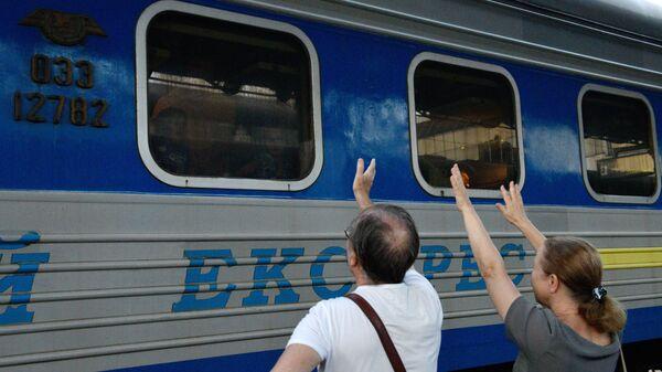 Поезд Киев - Москва на ж/д вокзале в Киеве