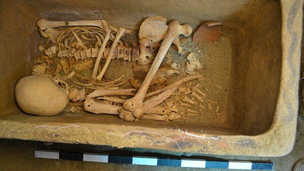 Человеческие останки в гробнице, найденные в районе Иерапетра на Крите. 25 августа 2018
