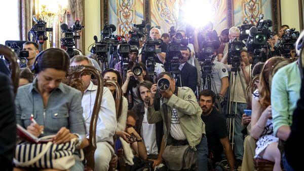 Представители прессы на встрече президента Украины Петра Порошенко с Государственным секретарем США Джоном Керри в Киеве