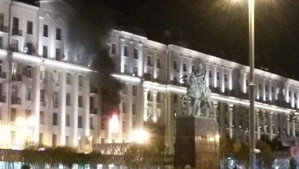 Пожар в центре Москвы на Тверской улице. 04.09.2018
