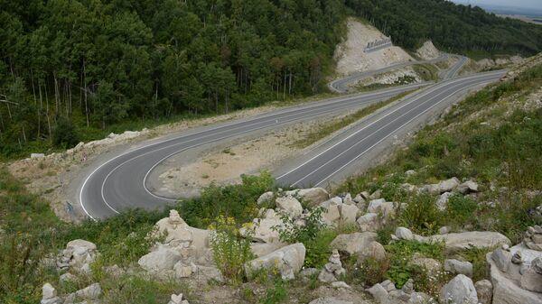 Автомобильная дорога, ведущая в туристический кластер Белокуриха-2 в Алтайском крае