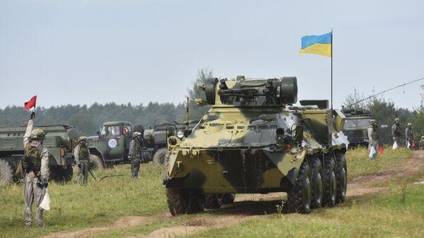 Украинский бронетранспортёр 8х8 БТР-3E1 во время активной фазы военных учений Репид Трайдент - 2018