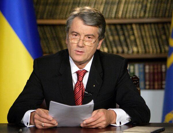Президент Украины Виктор Ющенко во время телеобращения