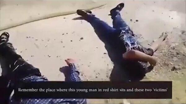 Стоп-кадр видеозаписи инсценировки химатаки в сирийском Идлибе, опубликованной SANA