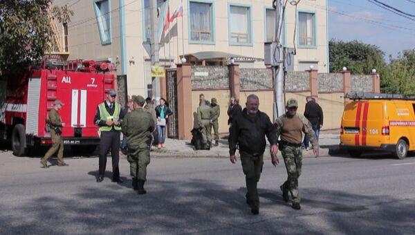 Кадры с места взрыва в Донецке