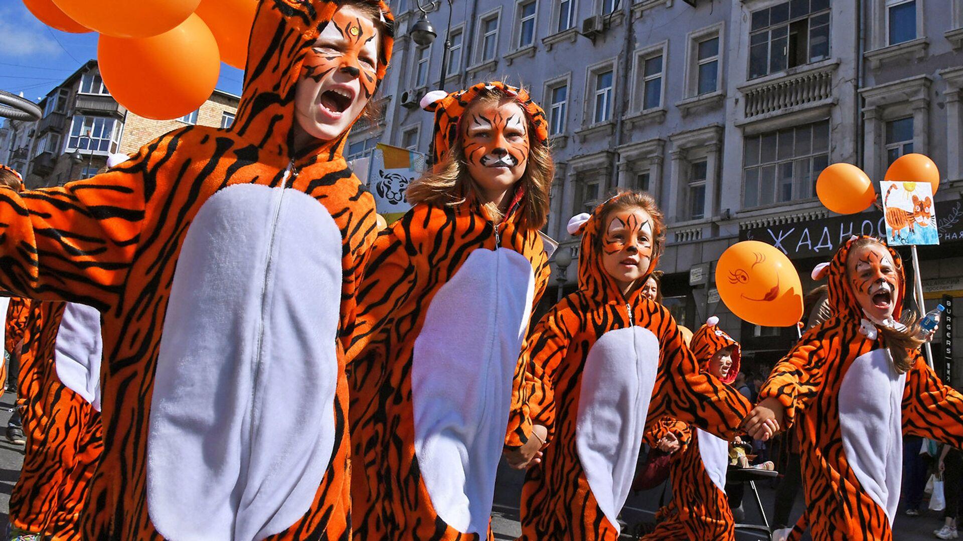 Юные участницы праздничных мероприятий, посвященных Дню тигра, во Владивостоке - РИА Новости, 1920, 25.09.2021