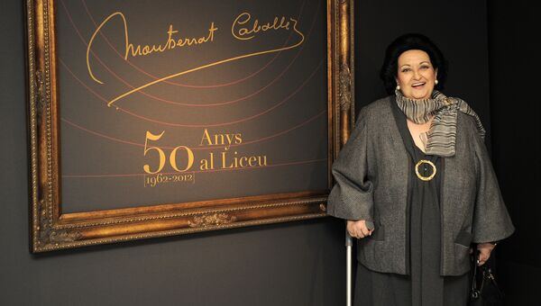 Оперная певица Монсеррат Кабалье на выставке, посвященной 50-летию ее дебюта на сцене Gran Teatre del Liceu в Барселоне. Архивное фото