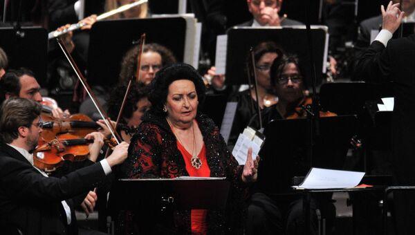Оперная певица Монсеррат Кабалье на сцене Gran Teatre del Liceu в Барселоне. Архивное фото