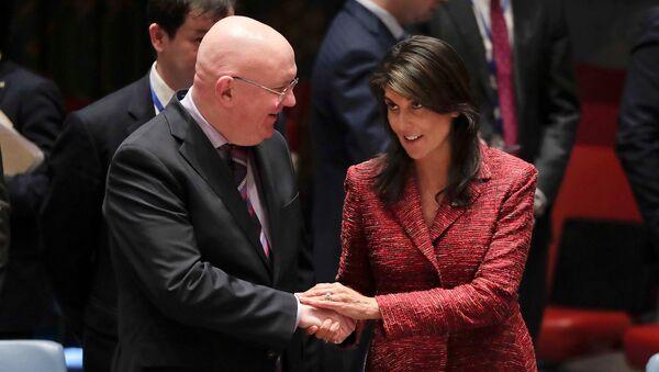 Постпреды России и США при ООН Василий Небензя и Никки Хейли. Архивное фото