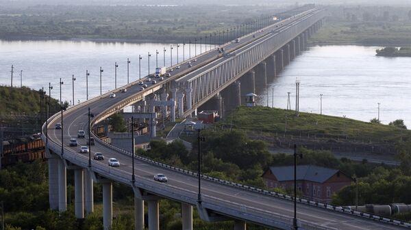Мост через реку Амур в Хабаровске на трассе Чита-Хабаровск