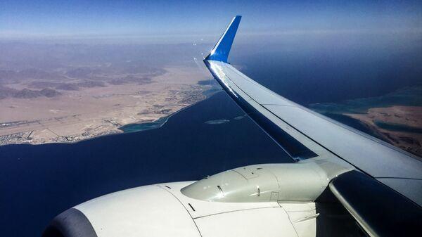 Вид из самолета на Красное море