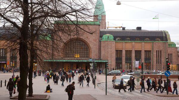 Здание центрального железнодорожного вокзала в Хельсинки