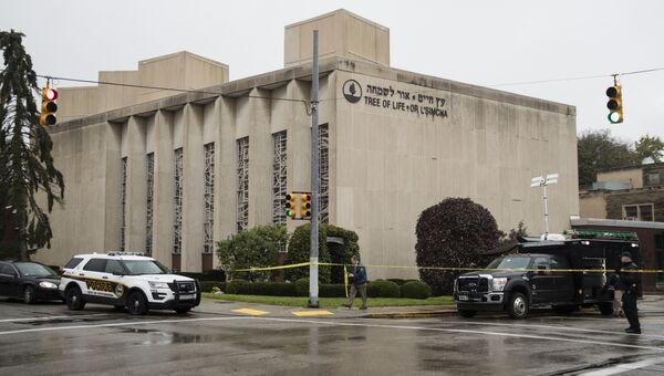 Полиция возле синагоги в американском городе Питтсбург, где произошла стрельба. Архивное фото