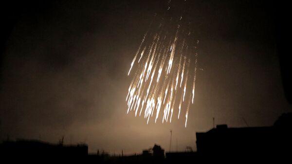 Бомбардировка снарядами с белым фосфором в Сирии