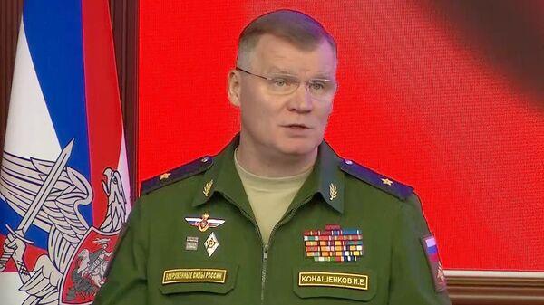 Официальный представитель Министерства обороны Российской Федерации генерал-майор Игорь Конашенков во время брифинга о процессе мирного урегулирования в Сирии. 31 октября 2018