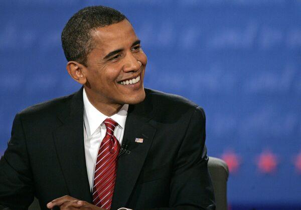 Кандидат в президенты США сенатор-демократ Барак Обама во время теледебатов