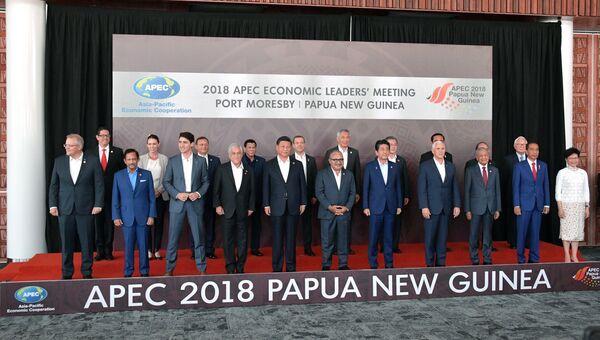 Председатель правительства РФ Дмитрий Медведев во время совместного фотографирования лидеров экономик форума Азиатско-тихоокеанское экономическое сотрудничество в Порт-Морсби. Архивное фото