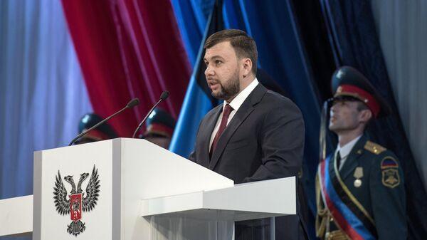 Избранный глава Донецкой народной республики Денис Пушилин на церемонии инаугурации в Донецке. 20 ноября 2018