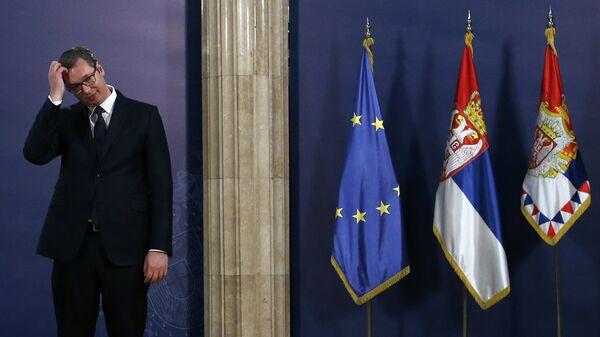 Президент Сербии Александр Вучич на пресс-конференции в Белграде