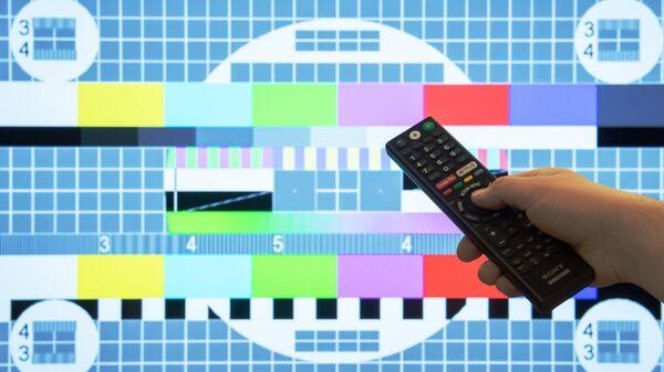Заставка телевизионной испытательной таблицы на экране телевизора