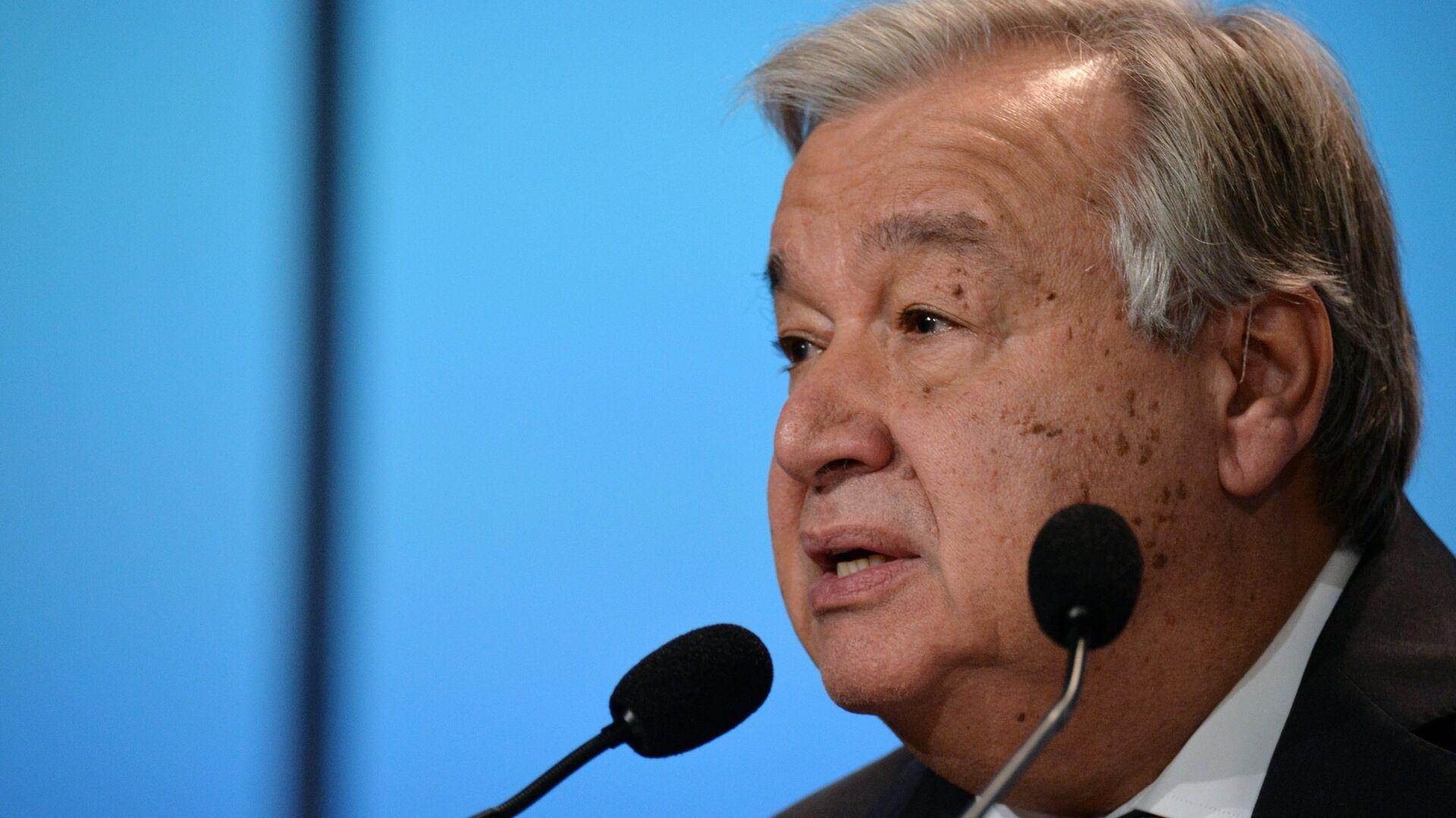 Генеральный секретарь ООН Антониу Гутерреш выступает на открытии 24-й конференции ООН по изменению климата (СОР24) в Катовице. 3 декабря 2018 - РИА Новости, 1920, 24.09.2020