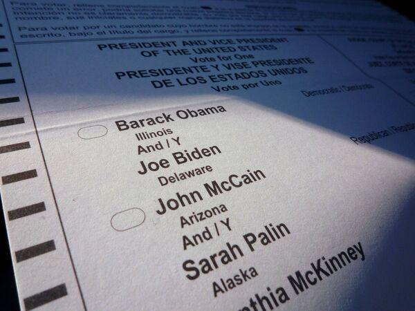 Избирательный бюллетень на выборах президента США