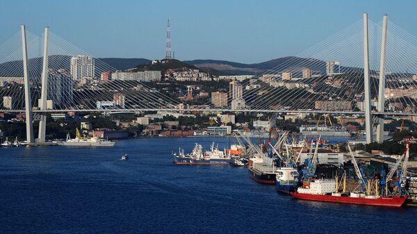 Вантовый мост через бухту Золотой Рог во Владивостоке. Архивное фото