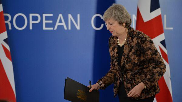 Премьер-министр Великобритании Тереза Мэй во время пресс-конференции на саммите ЕС в Брюсселе