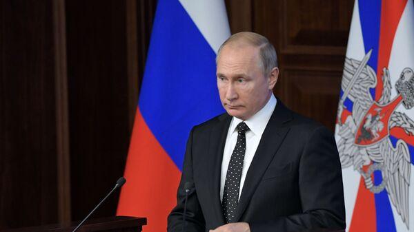 Президент РФ Владимир Путин на расширенном заседании коллегии министерства обороны РФ