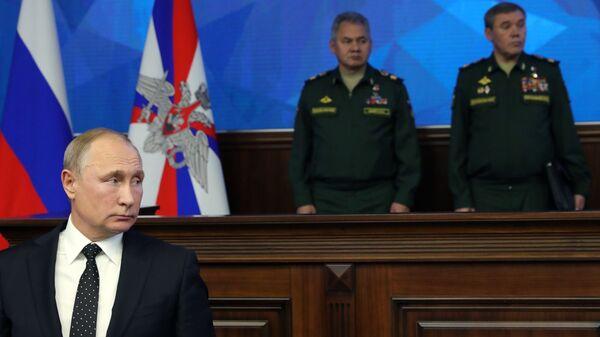 Владимир Путин на расширенном заседании коллегии министерства обороны РФ. 18 декабря 2018
