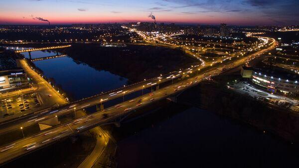 Спасский мост Московской кольцевой автодороги в районе города Красногорск Московской области