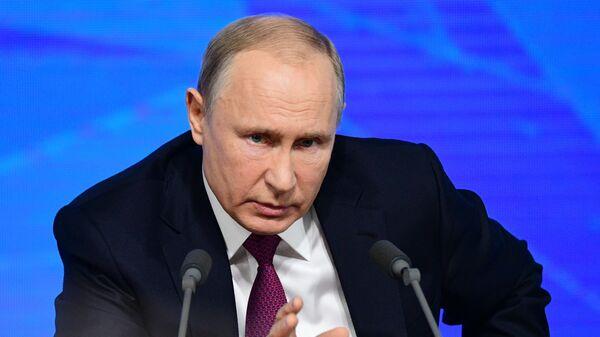Президент РФ Владимир Путин на четырнадцатой большой ежегодной пресс-конференции