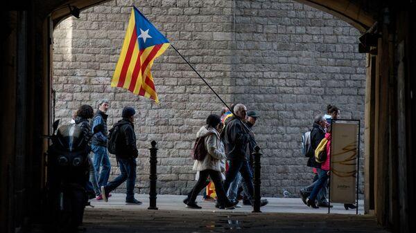 Участники акции протеста в Барселоне