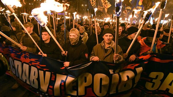 Участники марша националистов, приуроченного к 109-й годовщине со дня рождения Степана Бандеры, в Киеве