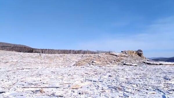 Место обрушения сопки в Хабаровском крае