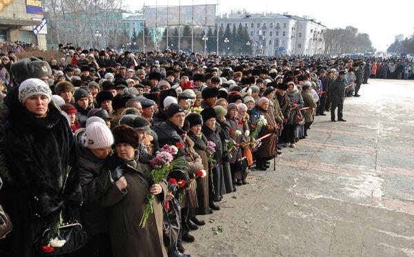 Похороны погибших на АПЛ Нерпа в Комсомольске-на-Амуре