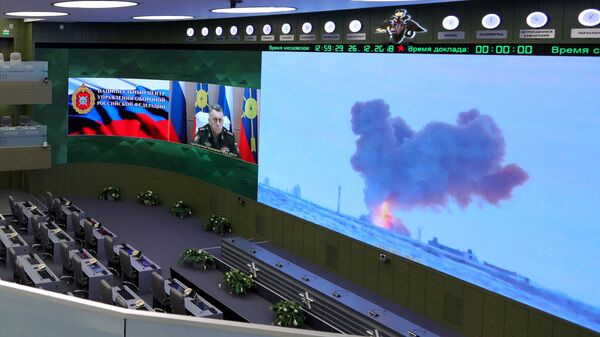 Видеотрансляция пуска ракеты комплекса Авангард с гиперзвуковым планирующим крылатым боевым блоком в Национальном центре управления обороной РФ