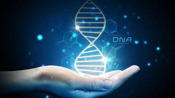 Молекула ДНК на ладони