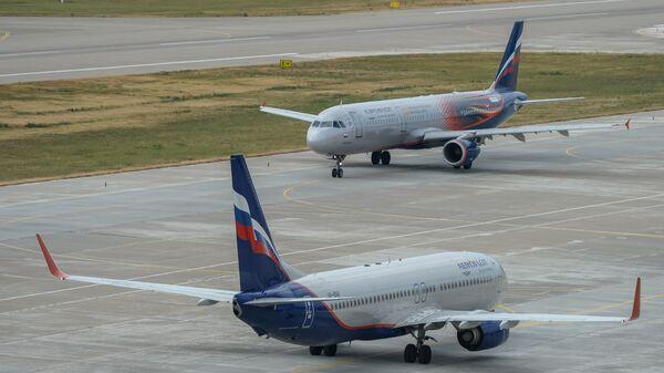 Самолеты авиакомпании Аэрофлота в международном аэропорту Сочи