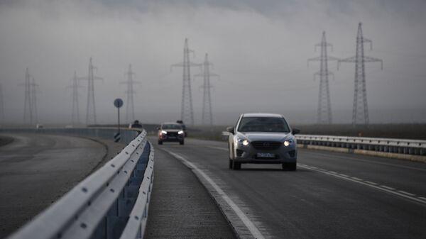 Автомобильное движение на участке трассы Таврида в Крыму. 30 декабря 2018