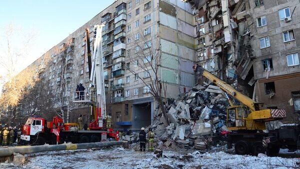 Ликвидация последствий обрушения одного из подъездов жилого дома в Магнитогорске. 31 декабря 2018
