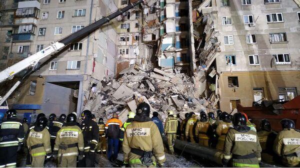 Ситуация на месте взрыва газа в жилом доме в Магнитогорске. 31 декабря 2018